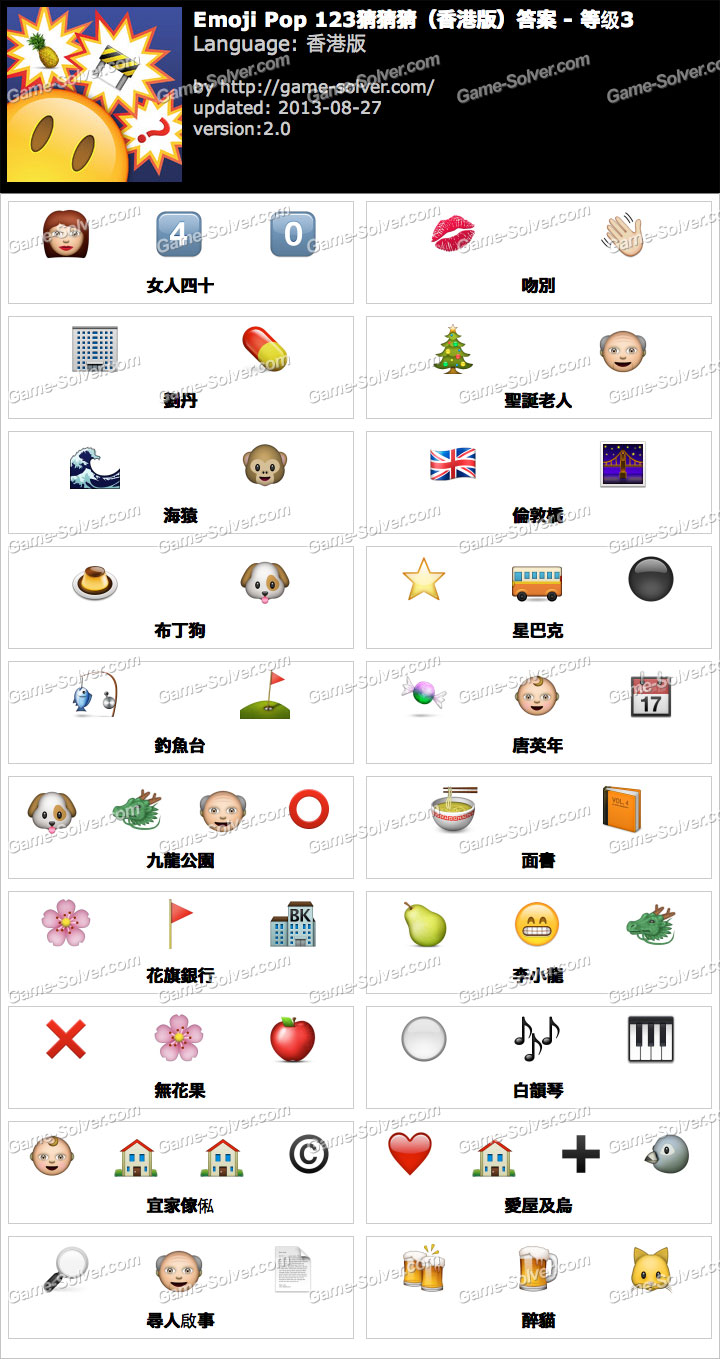 123 猜 猜 猜 香港 版 答案 level 40