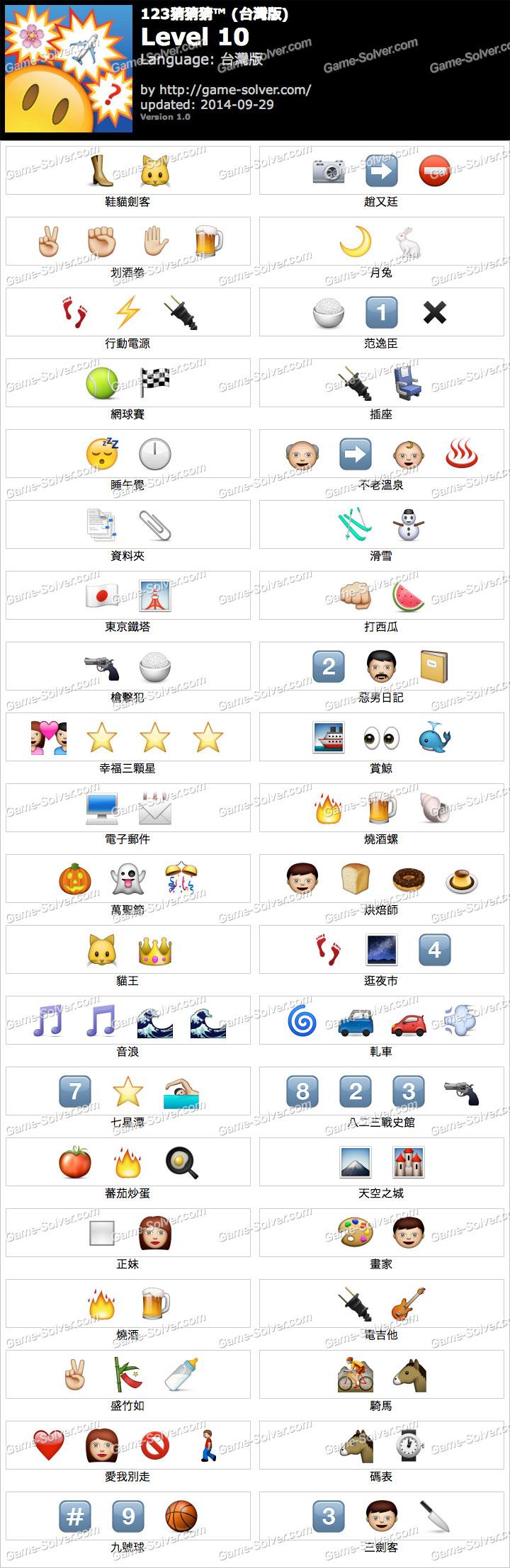 123猜猜猜台灣版答案等級10