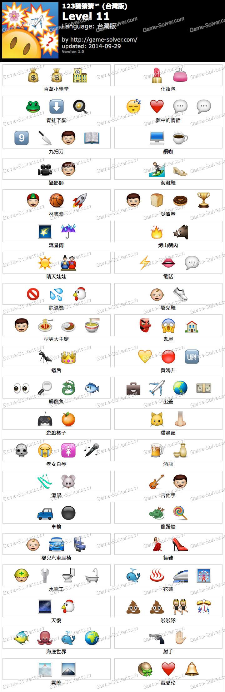 123猜猜猜台灣版答案等級11