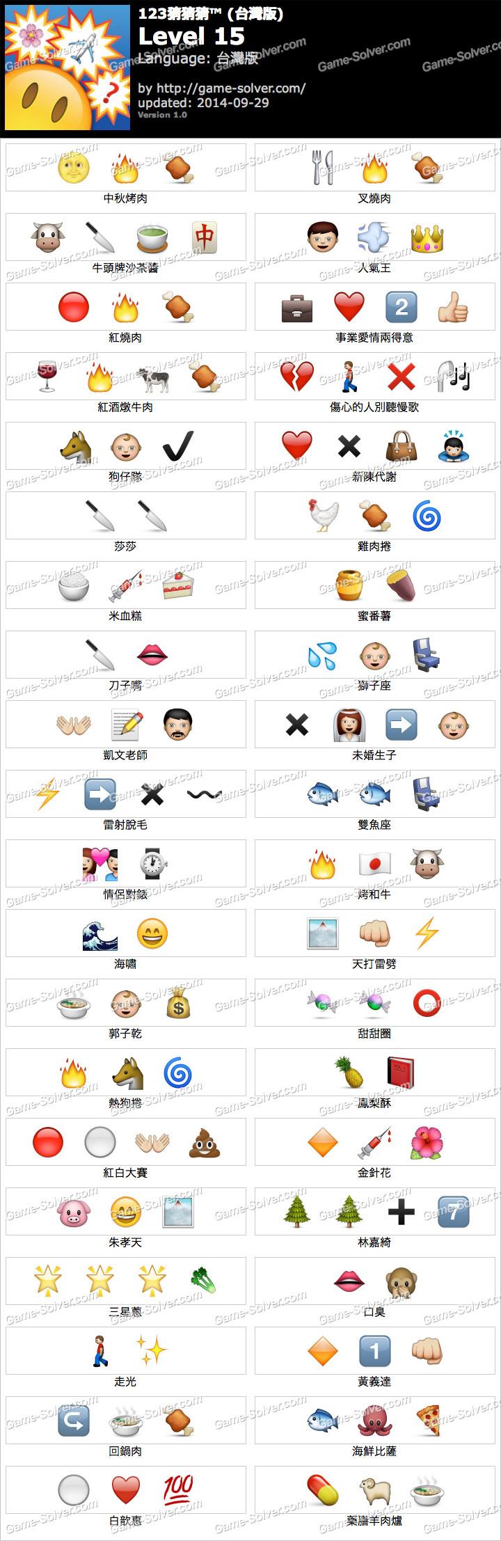 123猜猜猜台灣版答案等級15