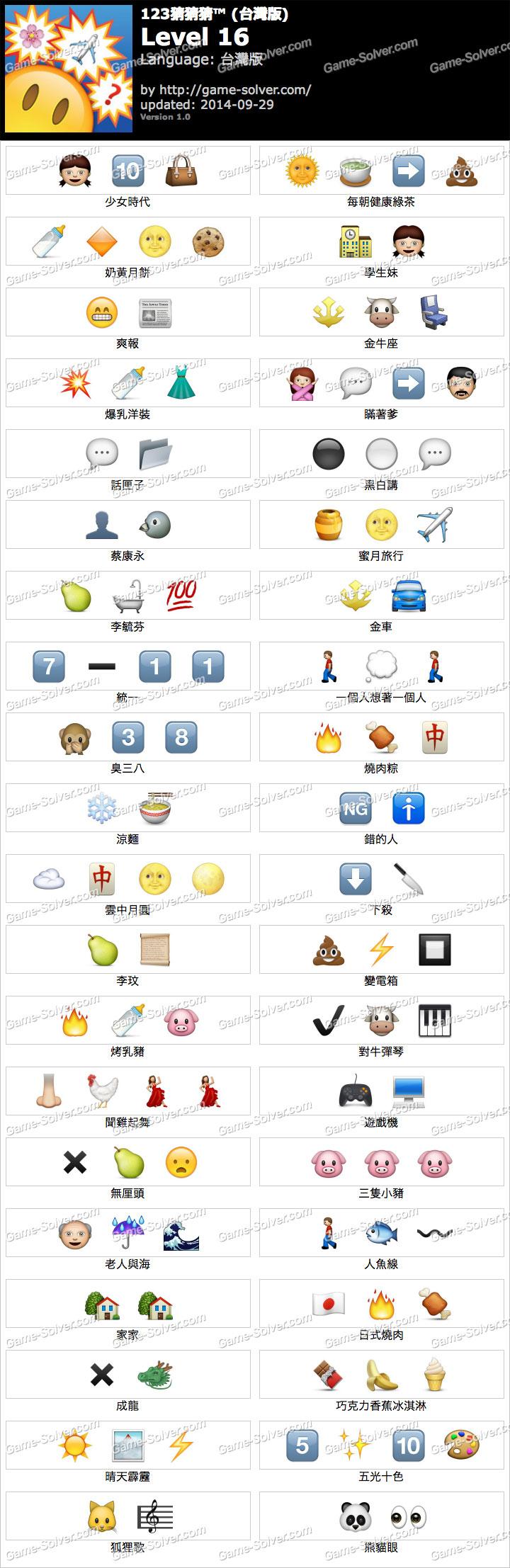 123猜猜猜台灣版答案等級16