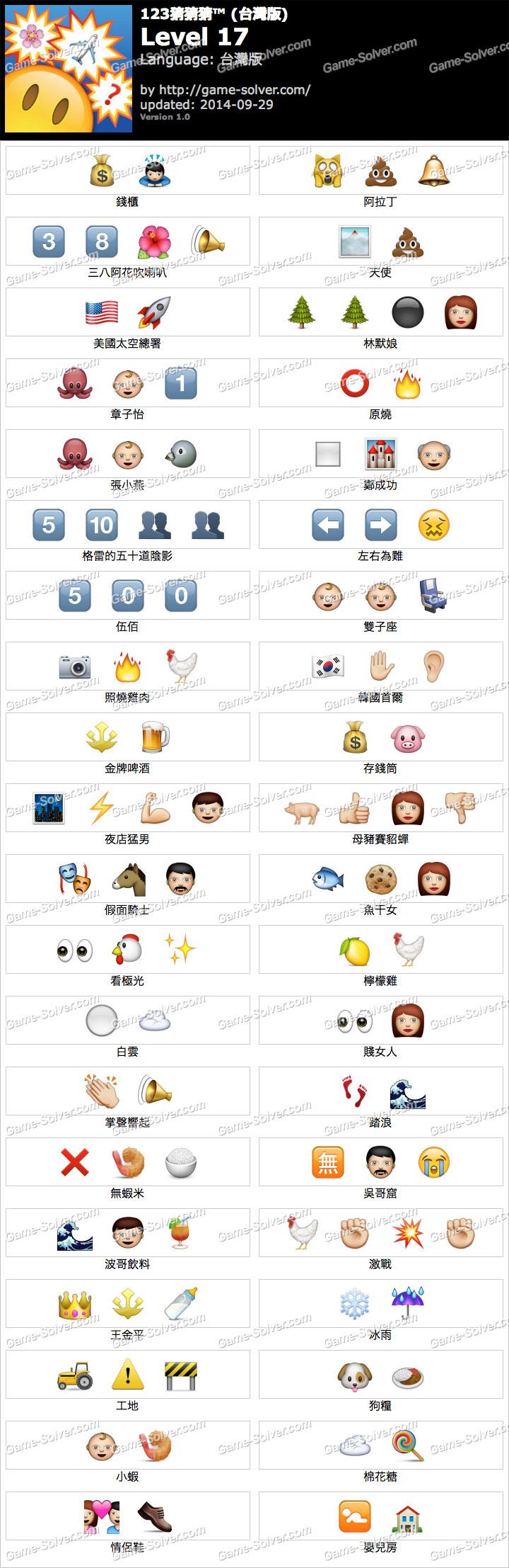 123猜猜猜台灣版答案等級17