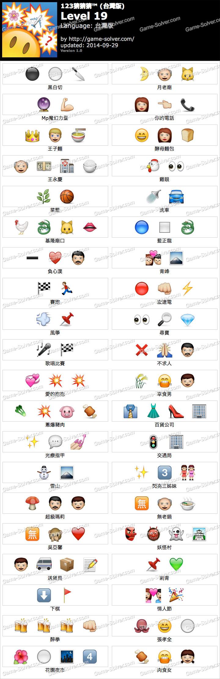 123猜猜猜台灣版答案等級19