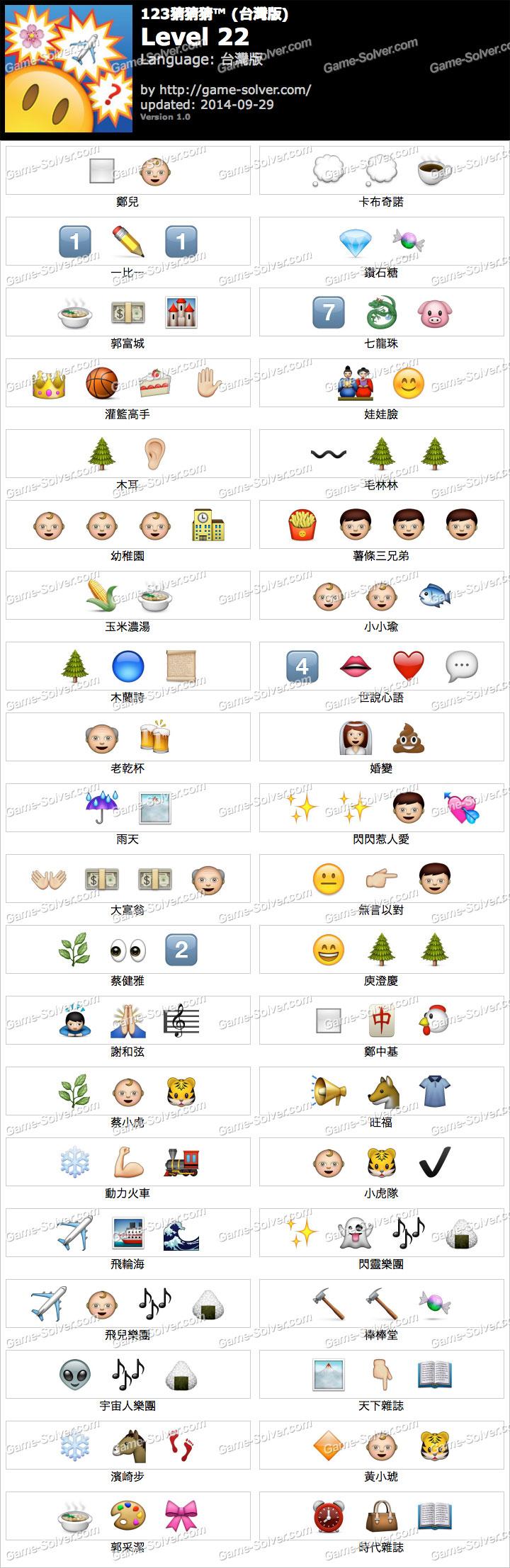 123猜猜猜台灣版答案等級22