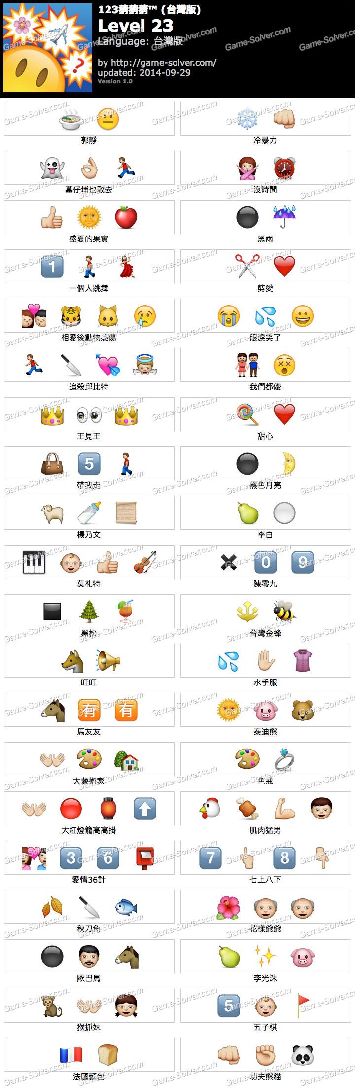 123猜猜猜台灣版答案等級23