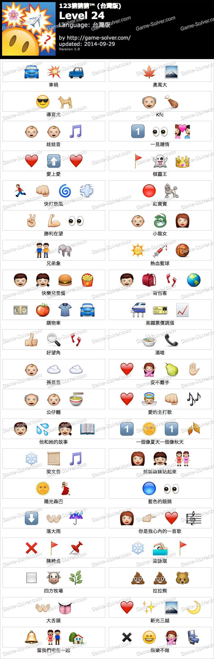 123猜猜猜台灣版答案等級24