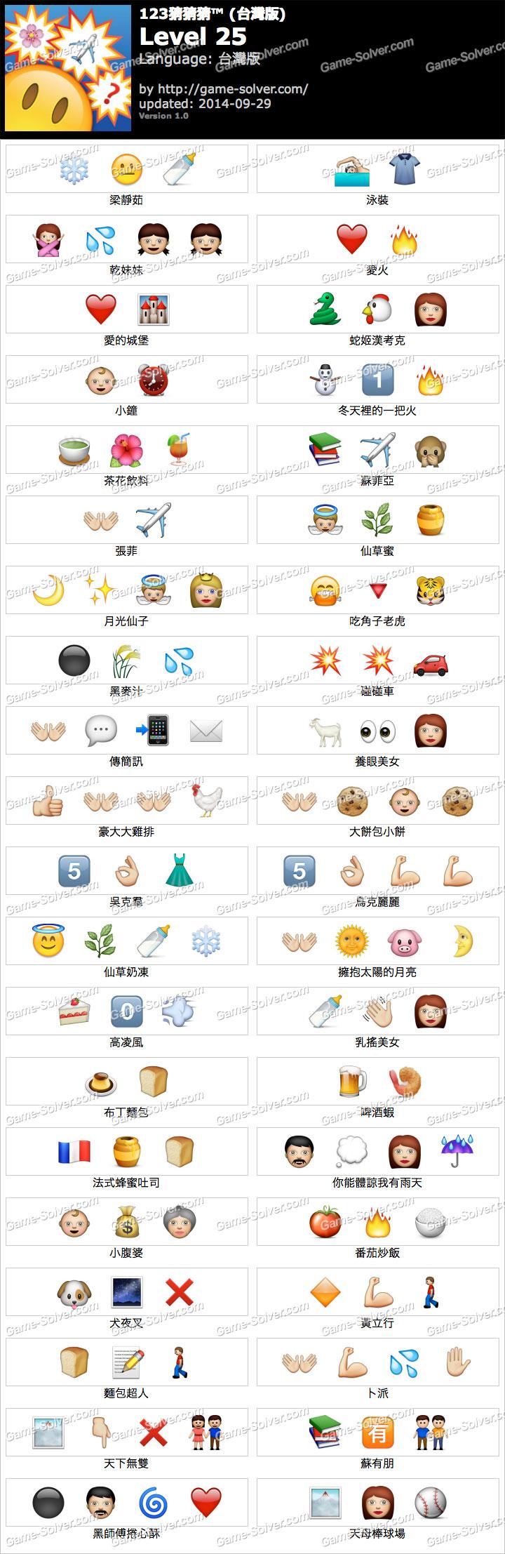 123猜猜猜台灣版答案等級25