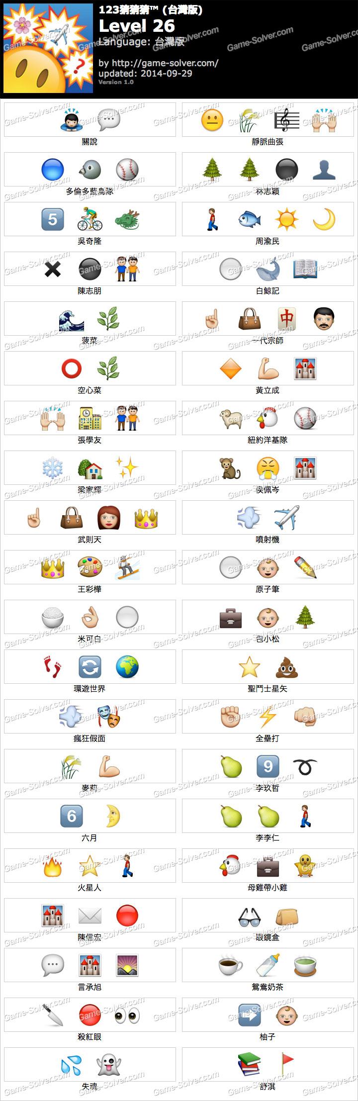 123猜猜猜台灣版答案等級26