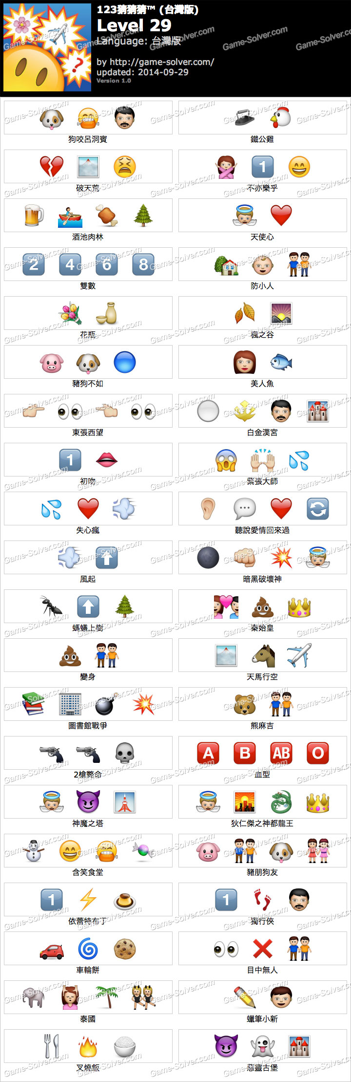 123猜猜猜台灣版答案等級29