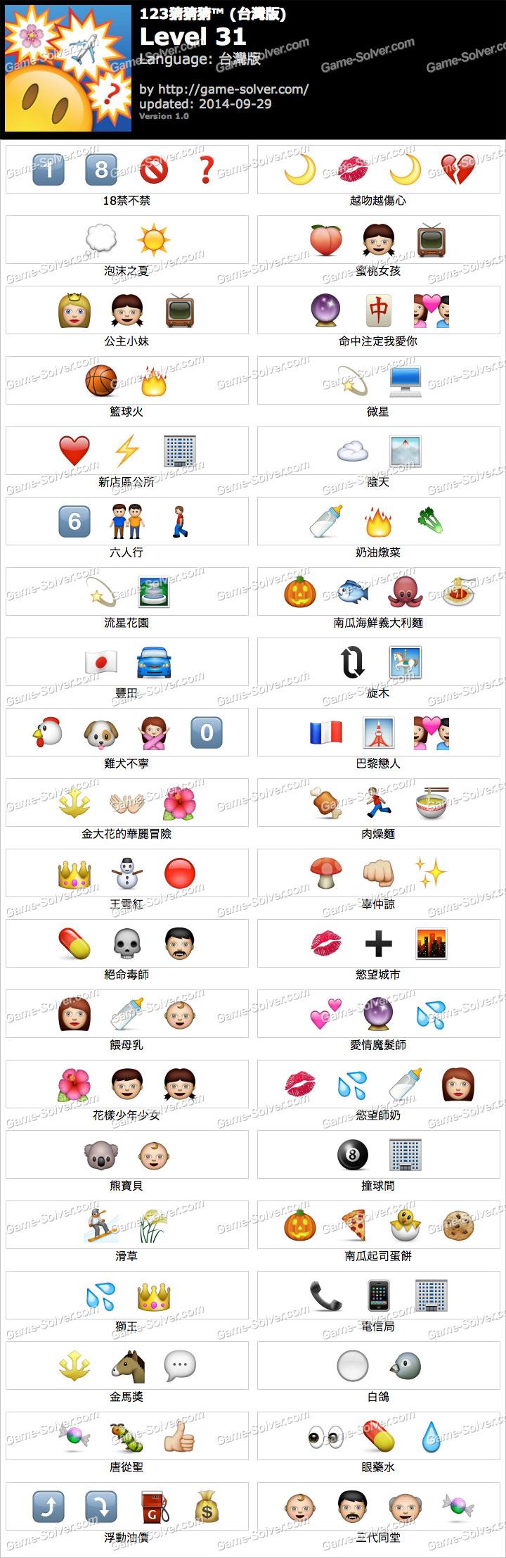 123猜猜猜台灣版答案等級31