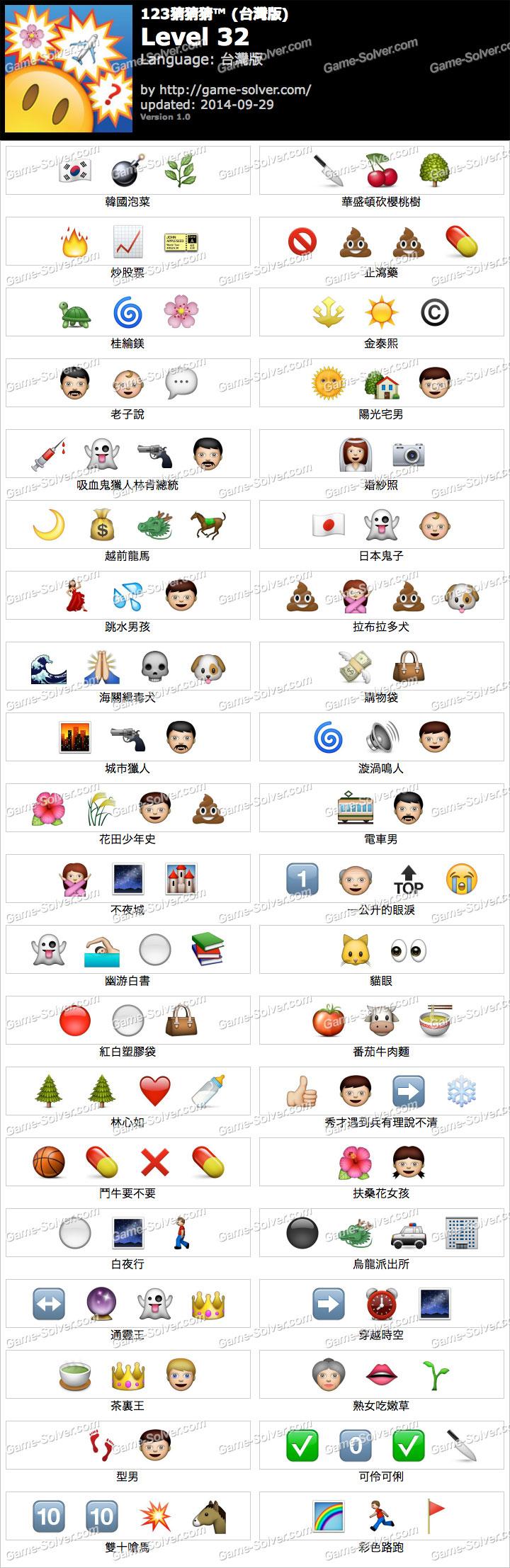 123猜猜猜台灣版答案等級32
