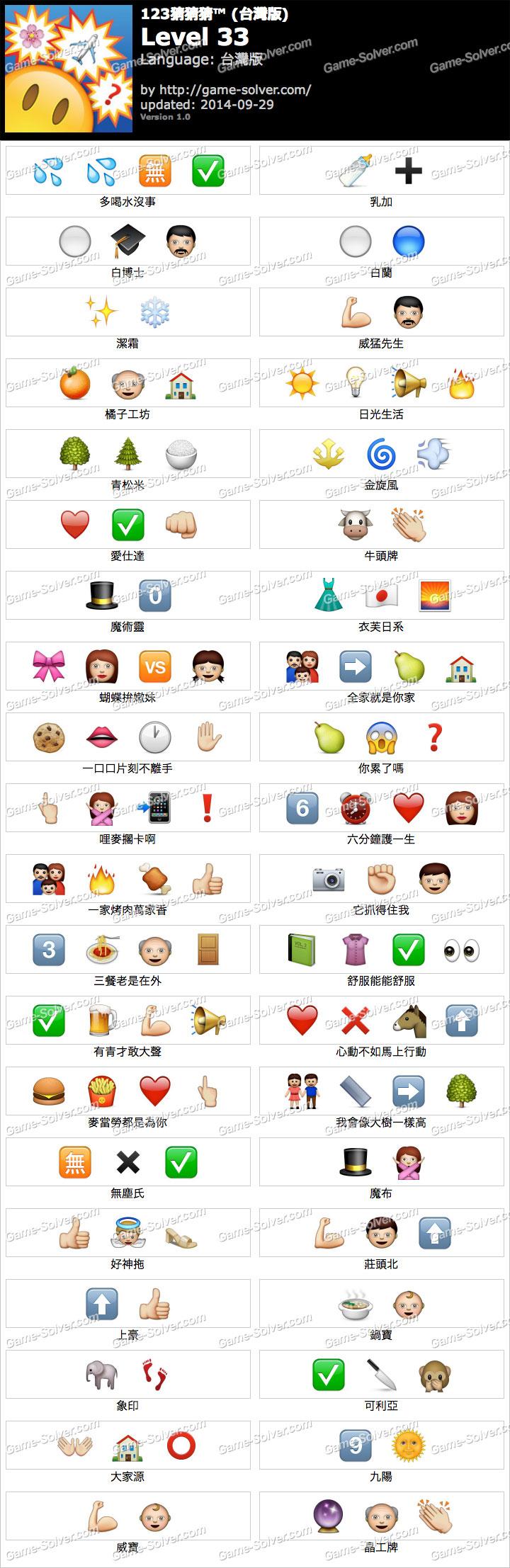 123猜猜猜台灣版答案等級33