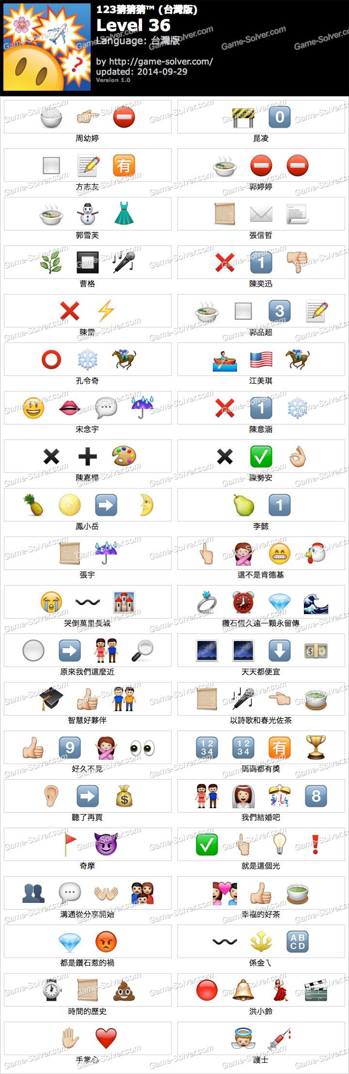 123猜猜猜台灣版答案等級36