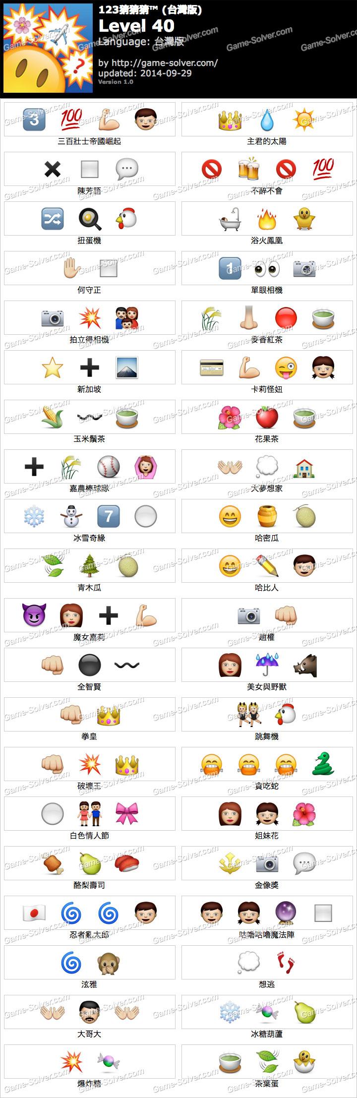 123猜猜猜台灣版答案等級40