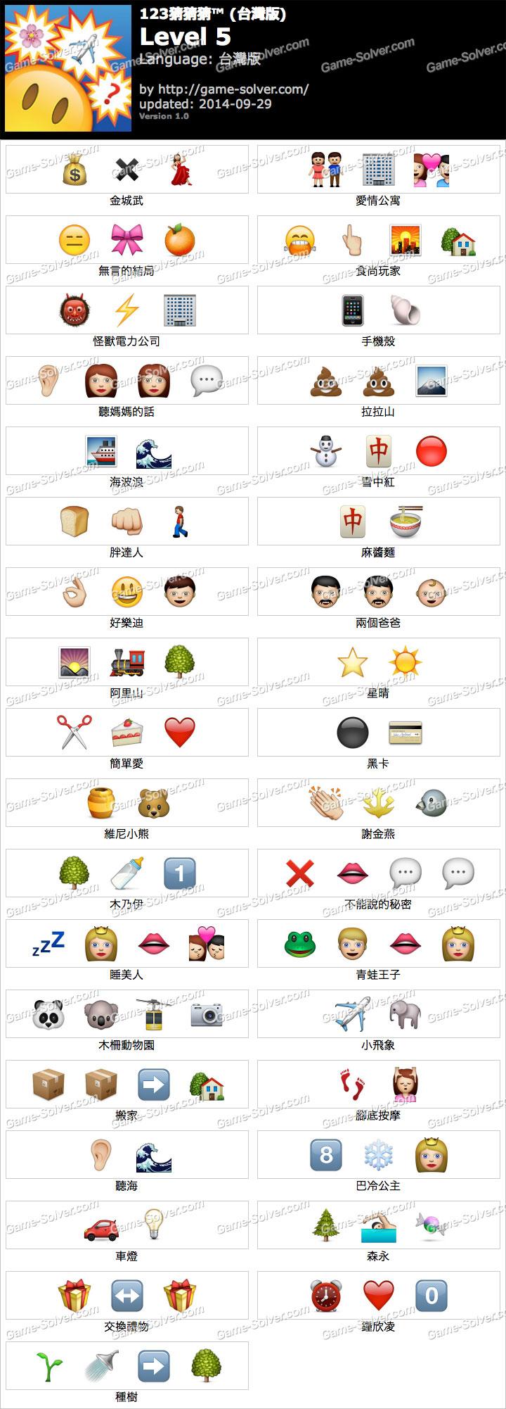 123猜猜猜台灣版答案等級5